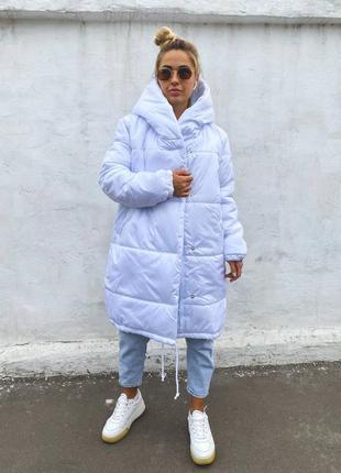 Белая зимняя куртка зефирка