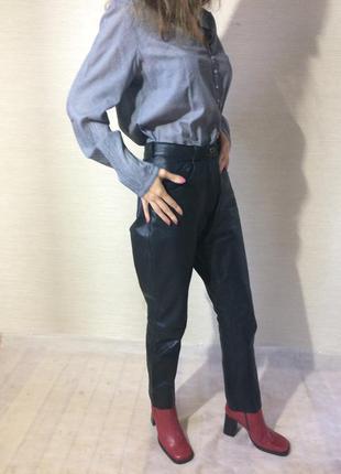 Женские  натуральные кожаные брюки. цвет чёрный5 фото