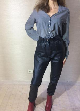 Женские  натуральные кожаные брюки. цвет чёрный6 фото