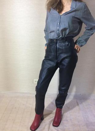 Женские  натуральные кожаные брюки. цвет чёрный7 фото