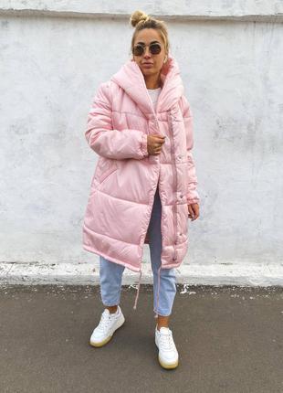 Розовая куртка зефирка зимняя