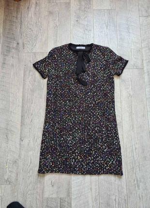 Стильное базовое твидовое короткое платье сарафан