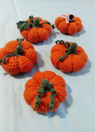 Набор, вязаные тыквы, декор на хэллоуин