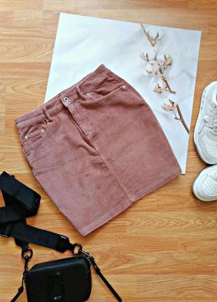 Женская плотная вельветовая горчичная коричневая брендовая короткая юбка pieces - размер 44-46