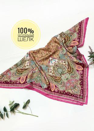 Натуральный шелк платок шарф косынка цветочный принт