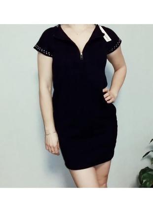 Хлопковое прямое черное платье diesel s8 фото
