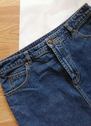 Женская джинсовая коттоновая синяя короткая юбка трапеция hennes - размер 44-462 фото
