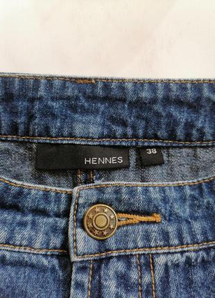 Женская джинсовая коттоновая синяя короткая юбка трапеция hennes - размер 44-466 фото