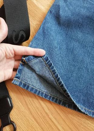 Женская джинсовая коттоновая синяя короткая юбка трапеция hennes - размер 44-465 фото