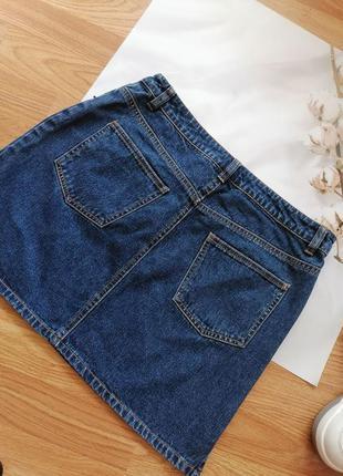 Женская джинсовая коттоновая синяя короткая юбка трапеция hennes - размер 44-464 фото