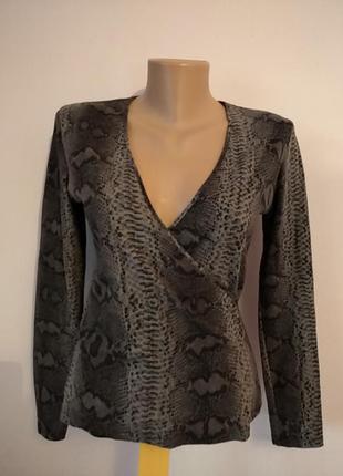 Кофта свитер свитшот топ блуза на запах змеиный принт1 фото