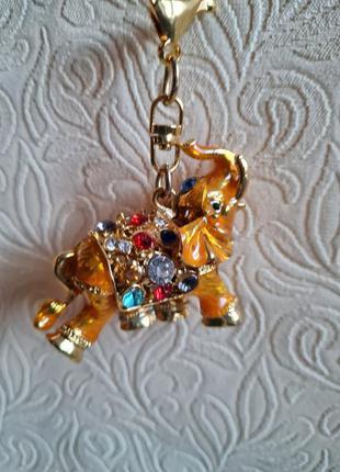 Брелок/подвес золотой слон тайланд2 фото