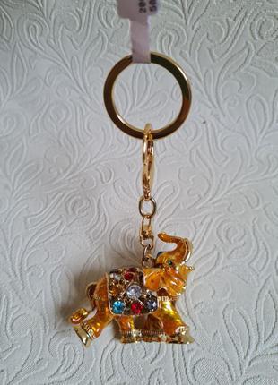 Брелок/подвес золотой слон тайланд5 фото