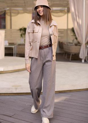 Стильные широкие брюки с высокой посадкой1 фото