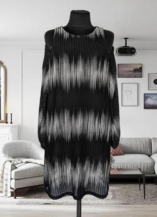 Платье трикотажное с открытыми плечами zara1 фото