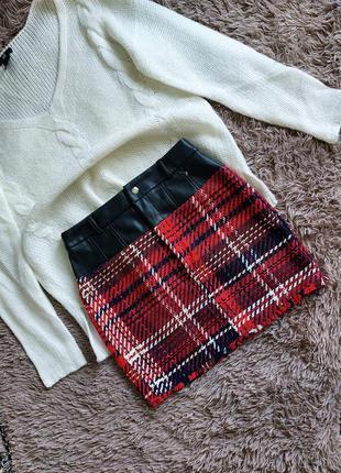 Юбка эко кожа, юбка твидовая, юбка в клетку, юбка тёплая