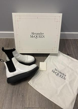 Alexander mcqueen hybrid chelsea boot белые сапоги челси кожаные ботинки полусапожки оригинал 36