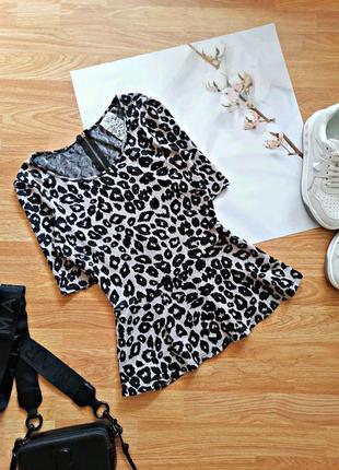 Женский брендовый легкий леопардовый джемпер - кофта - блуза с баской next - размер 42-44