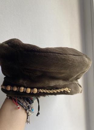 Винтажный берет шляпа искусственный мех1 фото