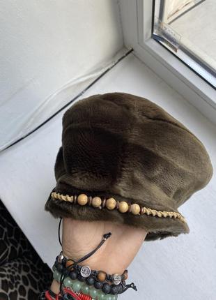 Винтажный берет шляпа искусственный мех4 фото
