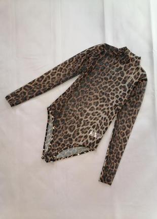 Боди комбиндресс с рукавами и стоичкой с леопардавой расцветкой сетка