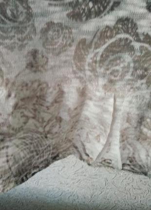 Эффектная трикотажная туника с гипюром и сеткой большого размера.4 фото