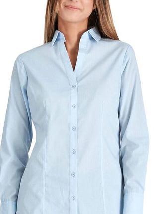 Голубая рубашка приталенная1 фото