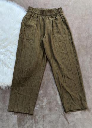 Женские стильные свободные штаны брюки из жатой ткани zara