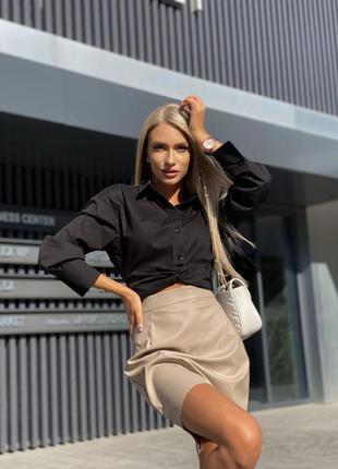 Костюм двойка кроп рубашка и юбка эко кожа5 фото