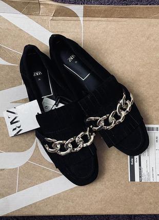 Женские кожаные туфли лоферы zara