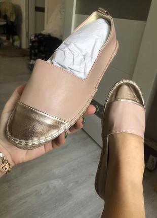 Новые легкие лофферы эспадрильи золото беж стильные балетки