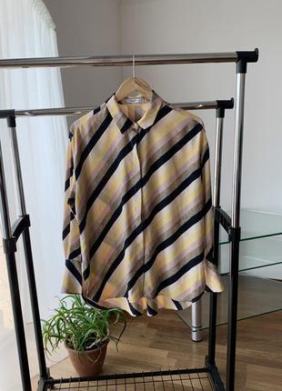 Рубашка блузка в полоску диагональ манго1 фото