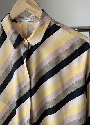 Рубашка блузка в полоску диагональ манго2 фото