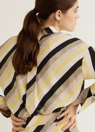 Рубашка блузка в полоску диагональ манго9 фото