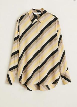Рубашка блузка в полоску диагональ манго10 фото