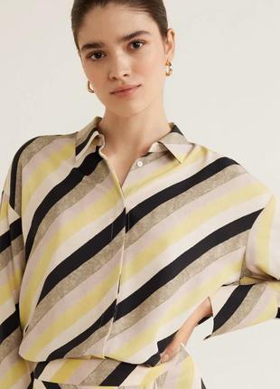 Рубашка блузка в полоску диагональ манго8 фото
