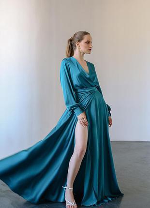 Длинное шелковое вечернее платье в пол от cher'17