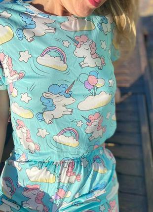 Яркая пижамка единорог5 фото