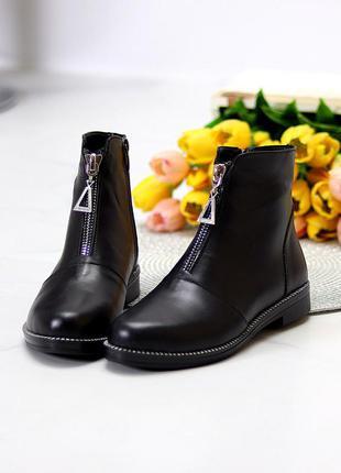 Кожаные ботинки чёрные на флисе деми4 фото