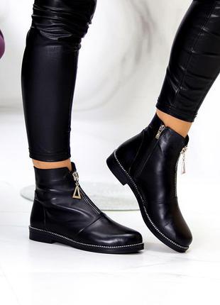 Кожаные ботинки чёрные на флисе деми9 фото
