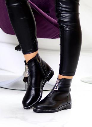 Кожаные ботинки чёрные на флисе деми7 фото