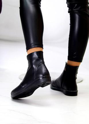 Кожаные ботинки чёрные на флисе деми5 фото