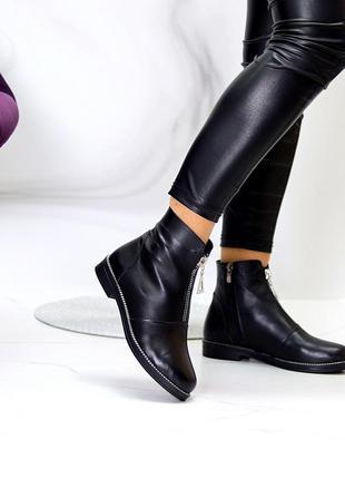 Кожаные ботинки чёрные на флисе деми6 фото