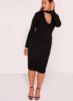 Платье миди с чокером с длинным рукавом1 фото