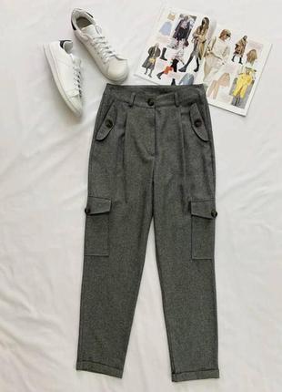 Серые брюки с карманами zara