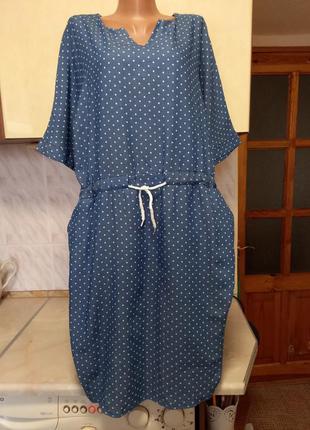 Джинсовое платье миди в горошек тонкий джинс батал
