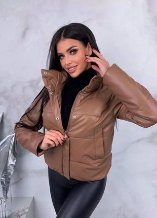 Стильная куртка из эко кожи1 фото