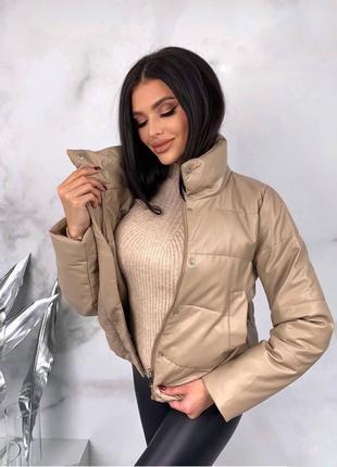 Стильная куртка из эко кожи3 фото