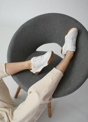 Белые кеды женские кожаные6 фото