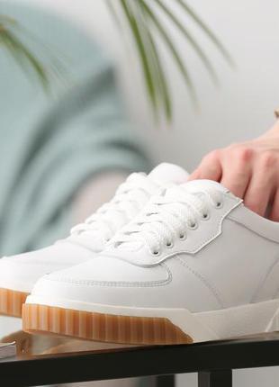 Белые кеды женские кожаные5 фото